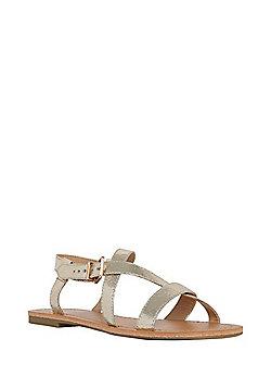 F&F Metallic Flat Strappy Sandals - Gold