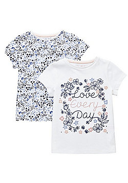 F&F 2 Pack of Slogan and Floral T-Shirts - Multi