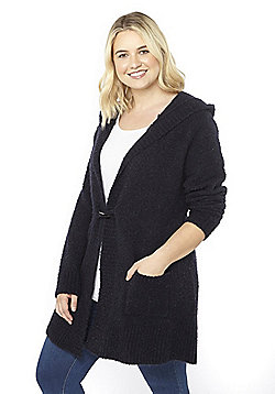 Evans Boucle Hooded Plus Size Cardigan - Navy