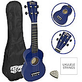 Soprano Ukulele for Beginners in Blue with Uke Bag
