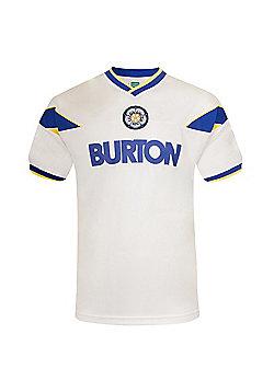 Leeds United AFC Mens 1982 1986 1996 Retro Shirt - White & Blue