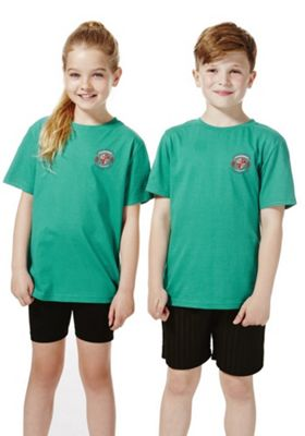 Unisex Embroidered School T-Shirt 8-9 years Jade green