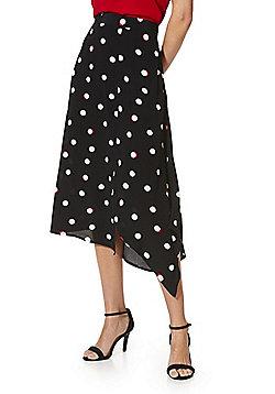 1294a7bd328b F&F Polka Dot Asymmetric Skirt - Black/White