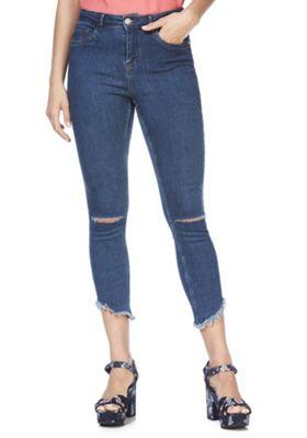 Noisy May Ripped Raw Hem Skinny Jeans Blue 26 Waist 32 Leg