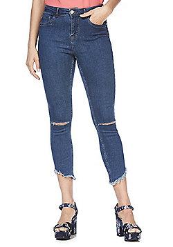 Noisy May Ripped Raw Hem Skinny Jeans - Blue