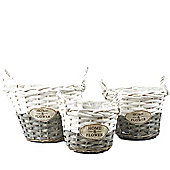 Wicker Basket x 3 - White & Grey