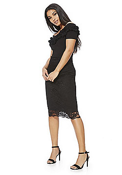 Feverfish Ruffle Bardot Lace Dress - Black