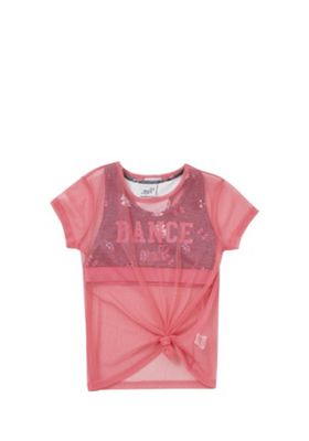 Nickelodeon JoJo Siwa 2 in 1 Crop Top and Mesh T-Shirt Pink 11-12 years