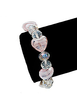 Light Pink/Transparent Heart & Faceted Bead Flex Bracelet - 18cm Length