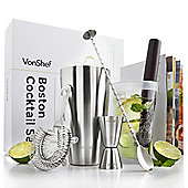 VonShef Boston Cocktail Shaker Set With Gift Box and Recipe Guide