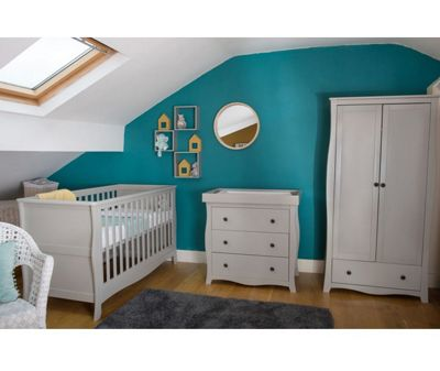 Little House Nursery Furniture Room Set in Grey with Sprung Mattress - Brampton Collection