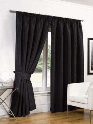 Dreamscene Faux Silk Blackout Curtains With Tiebacks Black - 46