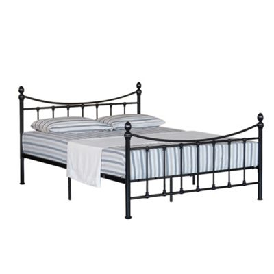 Comfy Living 4ft6 Double Vintage Style Metal Bed Frame with Metal Finials in Black with Damask Memory Mattress