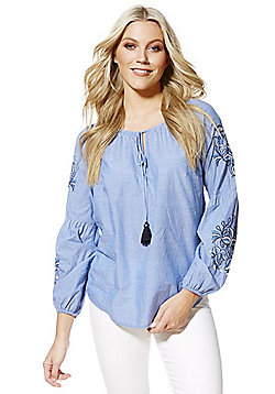 F&F Embroidered Chambray Bishop Sleeve Blouse - Blue