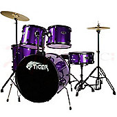 Tiger Full Size 5 Piece Drum Kit - Purple