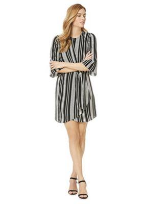 F&F Knot Front Striped Dress Black/White 10