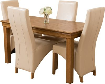 French Chateau Rustic Solid Oak 150 cm Dining Table with 4 Ivory Lola Leather Chairs