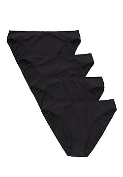 F&F 4 Pack of High Leg Briefs with As New Technology - Black