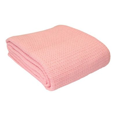 Homescapes Organic Cotton Waffle Baby Blanket Pink, 125 x 150 cm