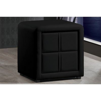 Black Designer Faux Leather Bedside Table