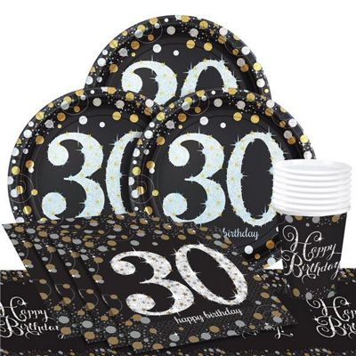 Sparkling Celebration 30th Birthday Party Pack - Value Party for 8