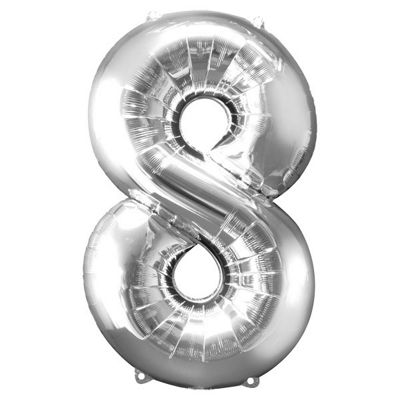 Silver Number 8 Balloon - 34 inch Foil