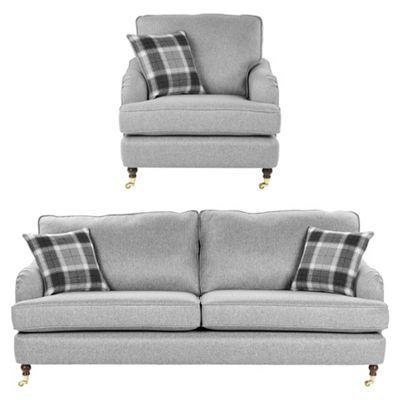Fox & Ivy Carrington Armchair + 3 Seater Sofa Set, Grey