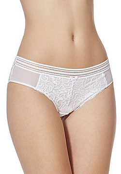 F&F Signature Rae Lace Brazilian Briefs - White