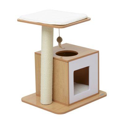 Buy Pawhut 63cm Wooden Cat Tree Condo Scratcher Post Pet Climbing