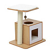 PawHut 63cm Wooden Cat Tree Condo Scratcher Post Pet Climbing Play House Activity Center Sisal Tower