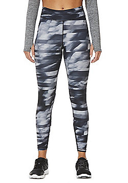 F&F Active Graphic Print Leggings - Black & Grey