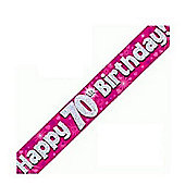 OakTree Pink Holographic Foil Happy 70th Birthday Banner - 9ft