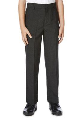 F&F School Boys Flat Front Slim Leg Trousers 9-10 years Grey