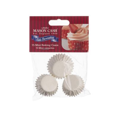Mason Cash Mini Cupcake Cases, Classic Design, Home Baking, Greaseproof, 75 Pieces, (White)