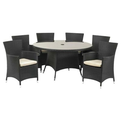 royalcraft cannes 140cm round dining set carver 6 seater black buy from tesco