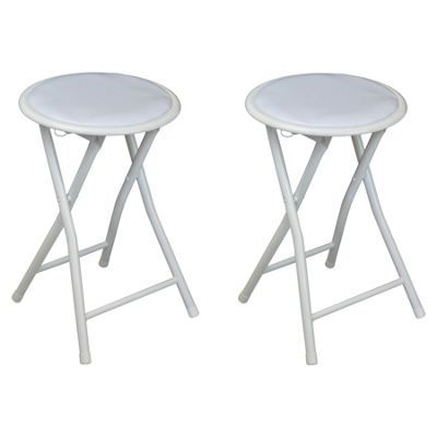 Harbour Housewares Round Compact Folding Stool - White - Pack Of 2