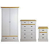 Sandringham Bedroom Set (Double Wardrobe with Drawer, Chest of Drawers & Bedside Table), Grey