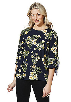 F&F Floral Print Bell Sleeve Top - Yellow & Navy