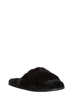 F&F Faux Fur Slide Slippers - Black