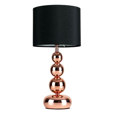 Marissa Chrome Touch Table Lamp, Copper & Black