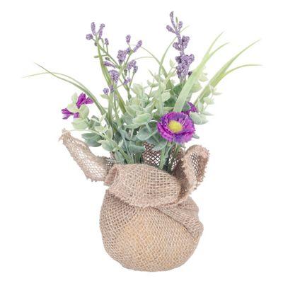 Homescapes Purple Artificial Daisy Flowers Arrangement in Rustic Burlap Pot