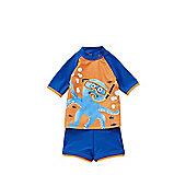 F&F Octopus Print UPF 50+ Rash Vest and Shorts Set - Orange & Blue
