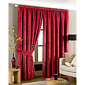 Riva Home Imperial Velvet Woven Pencil Pleat Lined Curtains, Red, 90 x 90 Inch