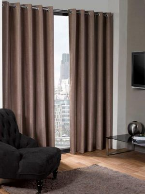 Logan Eyelet Thermal Blackout Curtains, Taupe 168x229cm