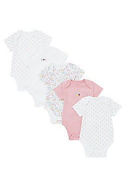 F&F 5 Pack of Floral Short Sleeve Bodysuits - Pink