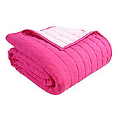 Homescapes Cotton Quilted Reversible Bedspread Pink & Cerise, 150 x 200 cm