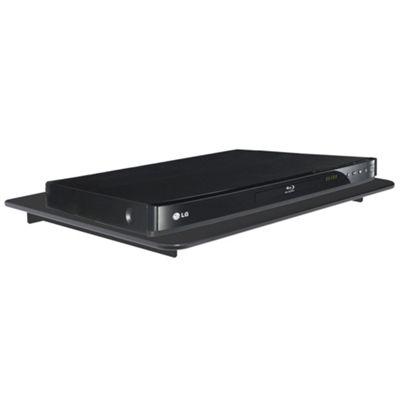 Single Black Floating Glass DVD Shelf Mount Stand Strengthened Tempered Glass