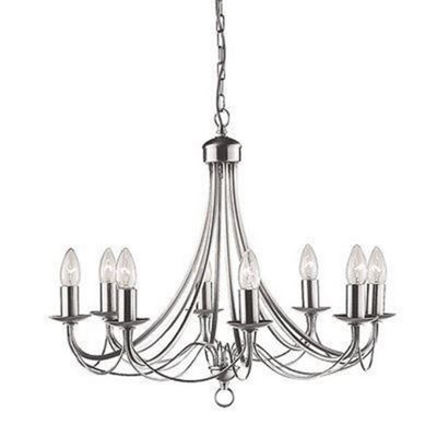 MAYPOLE 8 LIGHT SATIN SILVER CEILING