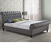 Happy Beds Castello Fabric Scroll Sleigh Bed with Memory Foam Mattress - Grey