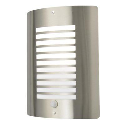 Litecraft Horizon 1 Bulb Outdoor Slatted Wall Light with PIR Sensor, Stainless Steel